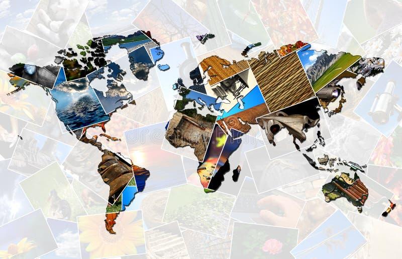 拼贴画世界地图 免版税库存图片