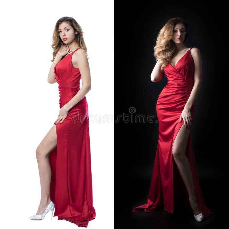 拼贴画两个性感的模型 美丽的年轻成人可爱的性感和淫荡俏丽的白肤金发的妇女画象红色高雅的 免版税库存图片