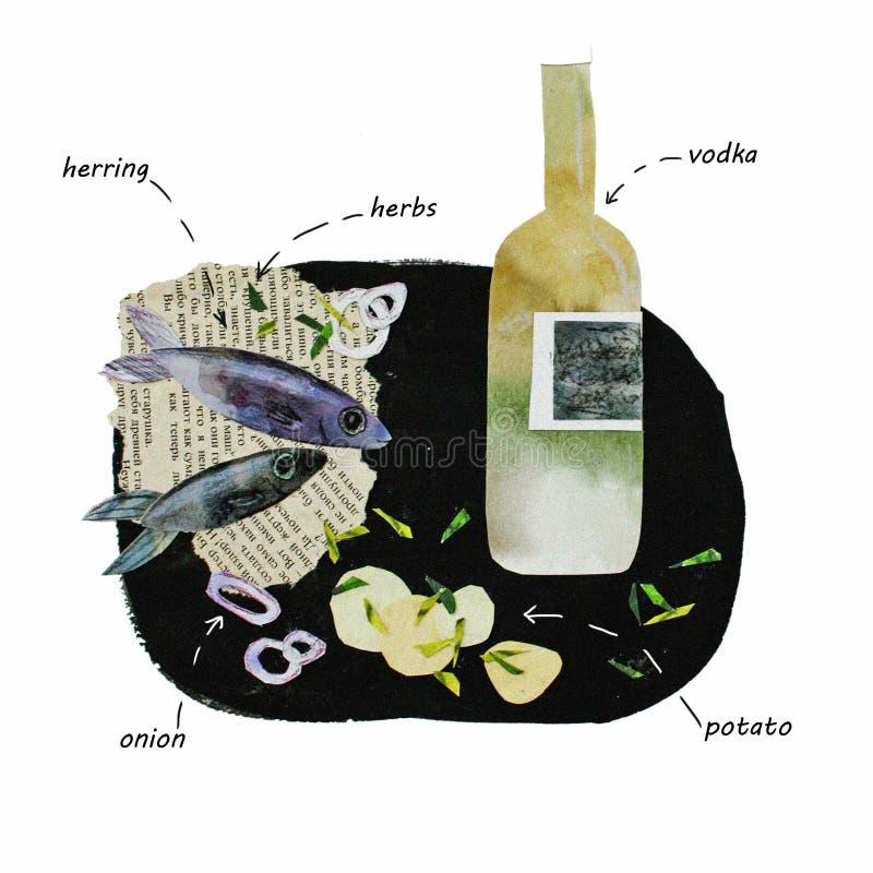 拼贴画伏特加酒和鲱鱼的例证 向量例证