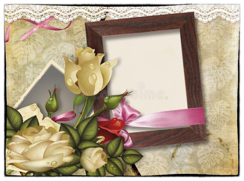 拼贴画在葡萄酒背景的照片框架 向量例证
