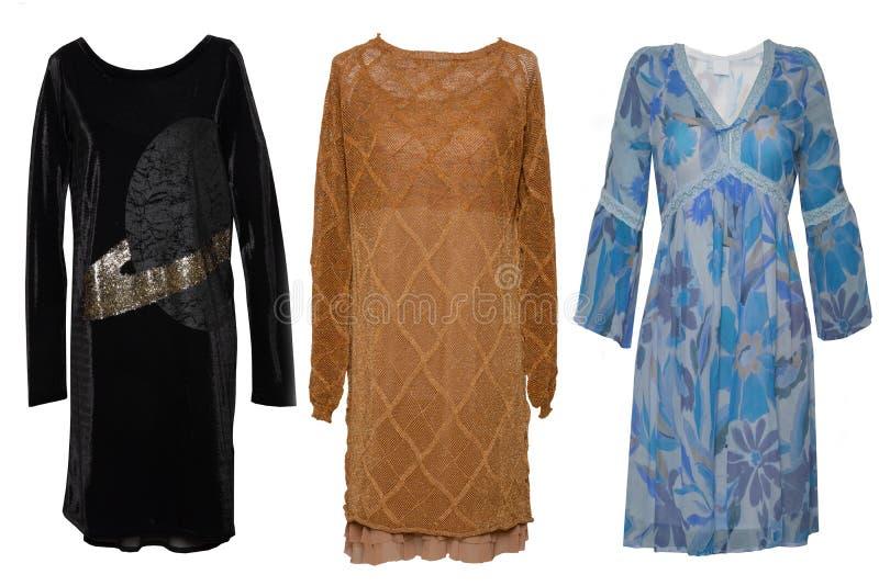 拼贴画妇女衣裳 设置时髦和时髦在白色背景隔绝的妇女礼服和辅助部件 后方式 免版税库存照片