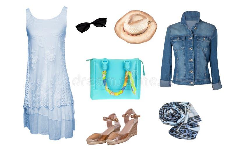 拼贴画妇女衣裳 设置时髦和时髦妇女牛仔裤夹克、一件蓝色礼服、金黄鞋子、提包和其他辅助部件 免版税图库摄影