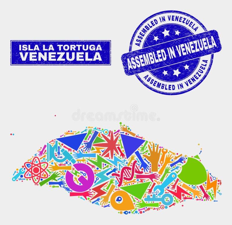拼贴画工业在委内瑞拉邮票装配的伊斯拉拉托尔图加岛地图和困厄 库存例证