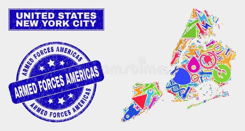 拼贴画工业纽约地图和难看的东西武力美洲水印 库存例证