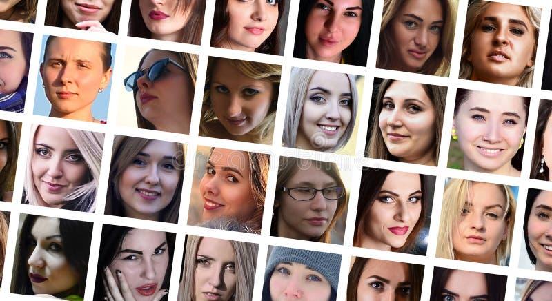 拼贴画年轻白种人女孩小组画象社会medi的 库存照片
