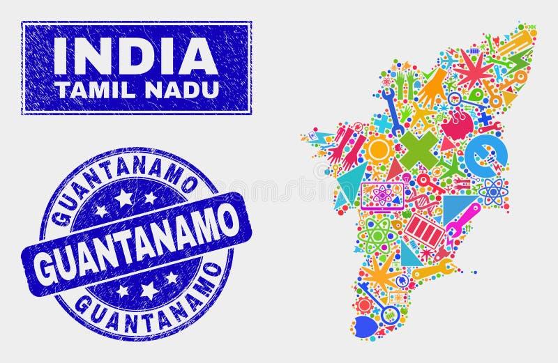 拼贴画技术泰米尔・那杜状态地图和难看的东西关塔那摩邮票 向量例证
