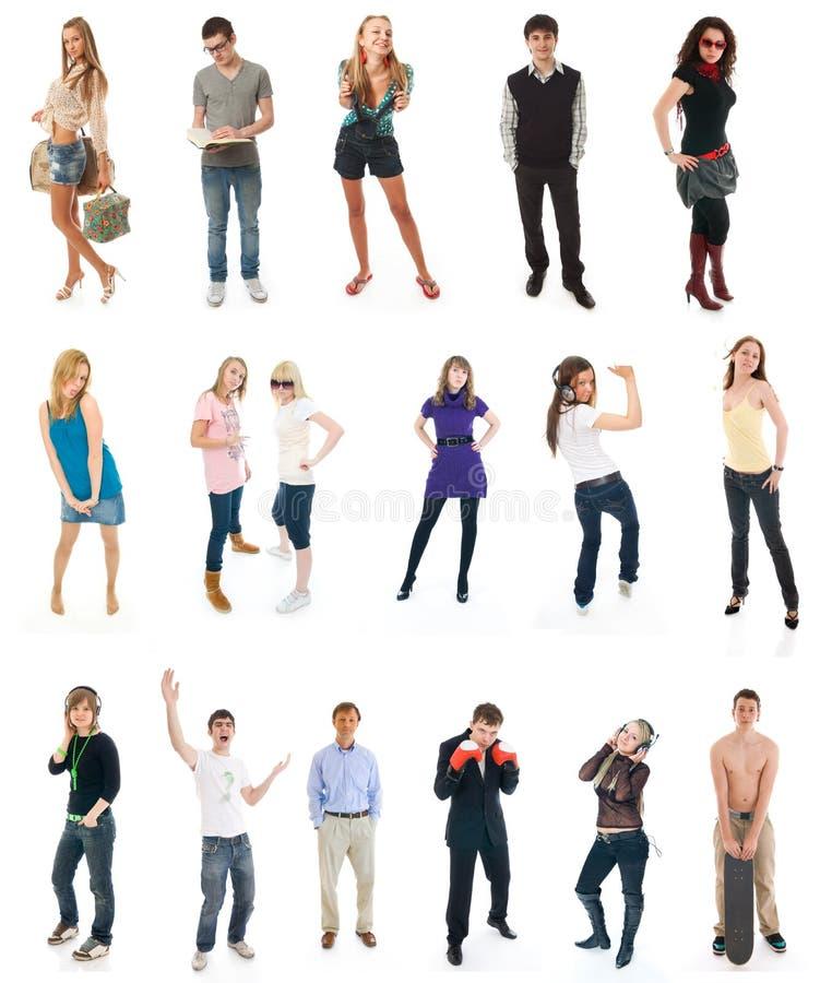 拼贴画查出的人员十七白色 免版税库存图片