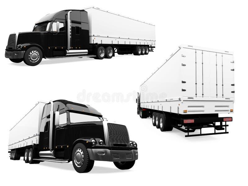 拼贴画查出的卡车 库存例证