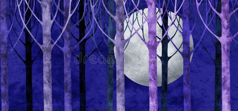 拼贴画森林月亮 库存例证