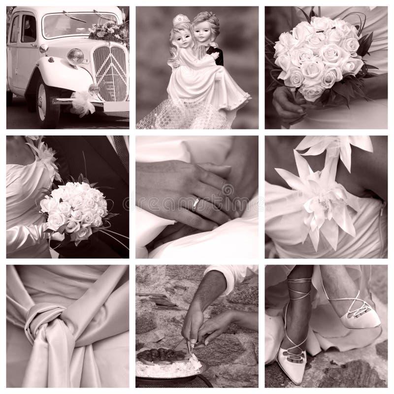 拼贴画概念婚礼 免版税库存照片