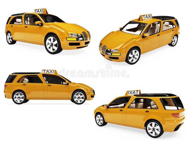 拼贴画概念查出的出租汽车黄色 向量例证