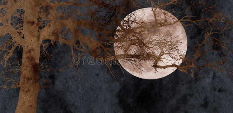拼贴画满月橡树 向量例证