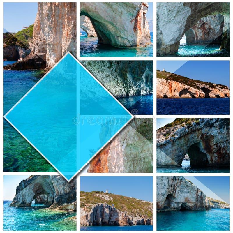 拼贴画照片扎金索斯州海岛-希腊,以1:1格式 免版税库存照片