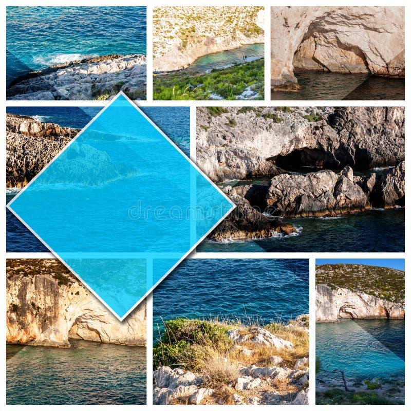 拼贴画照片扎金索斯州海岛-希腊,以1:1格式 库存图片