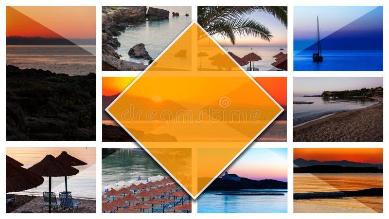 拼贴画照片扎金索斯州海岛-希腊,以16:9格式 免版税库存照片