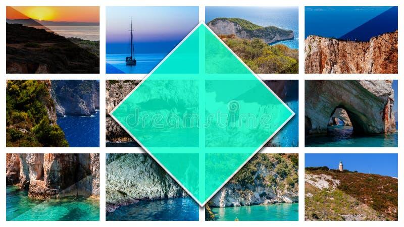 拼贴画照片扎金索斯州海岛-希腊,以16:9格式 库存照片
