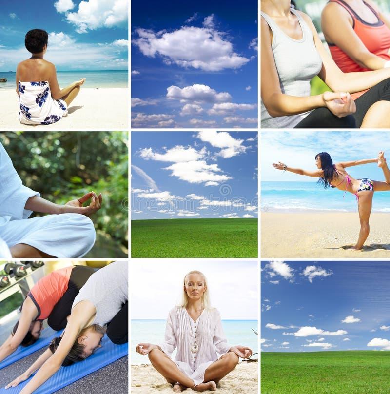 拼贴画瑜伽 免版税库存图片