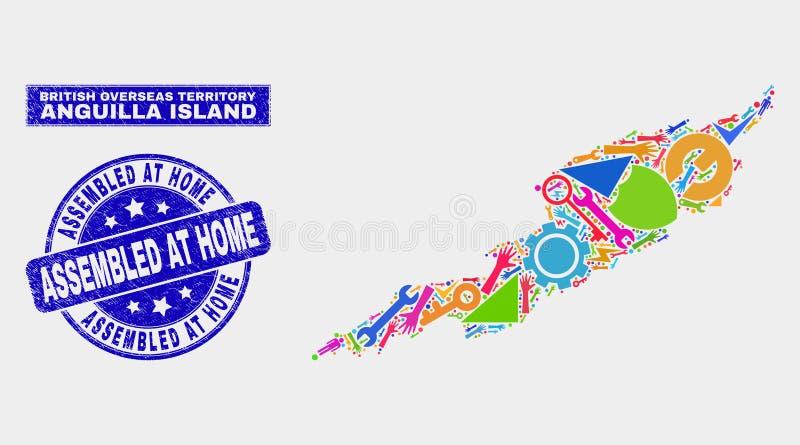 拼贴画用工具加工安圭拉海岛地图并且在家抓了被装配的邮票 库存例证