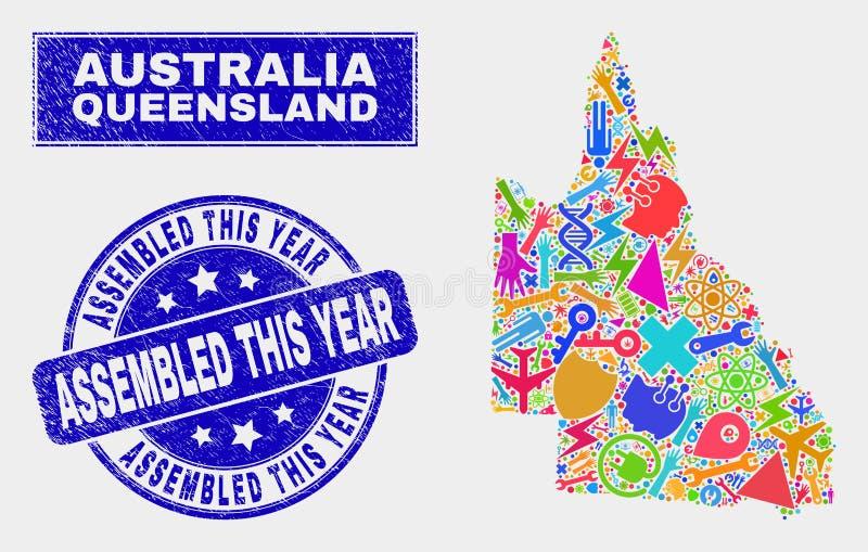 拼贴画用工具加工澳大利亚人昆士兰地图和被抓的被装配的今年邮票封印 皇族释放例证
