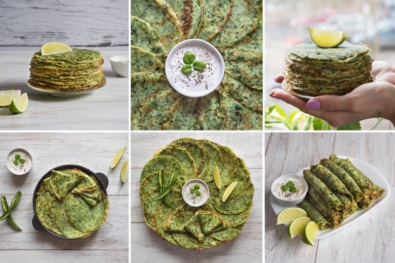 拼贴画用菠菜Adai -印度绿色薄煎饼 r 免版税库存照片