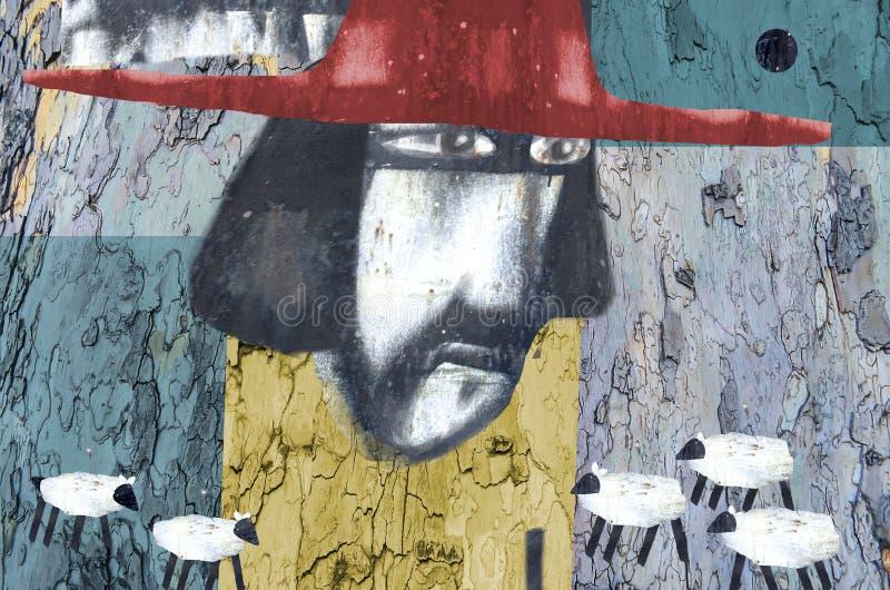 拼贴画艺术与一个人的图象的红色帽子的 向量例证