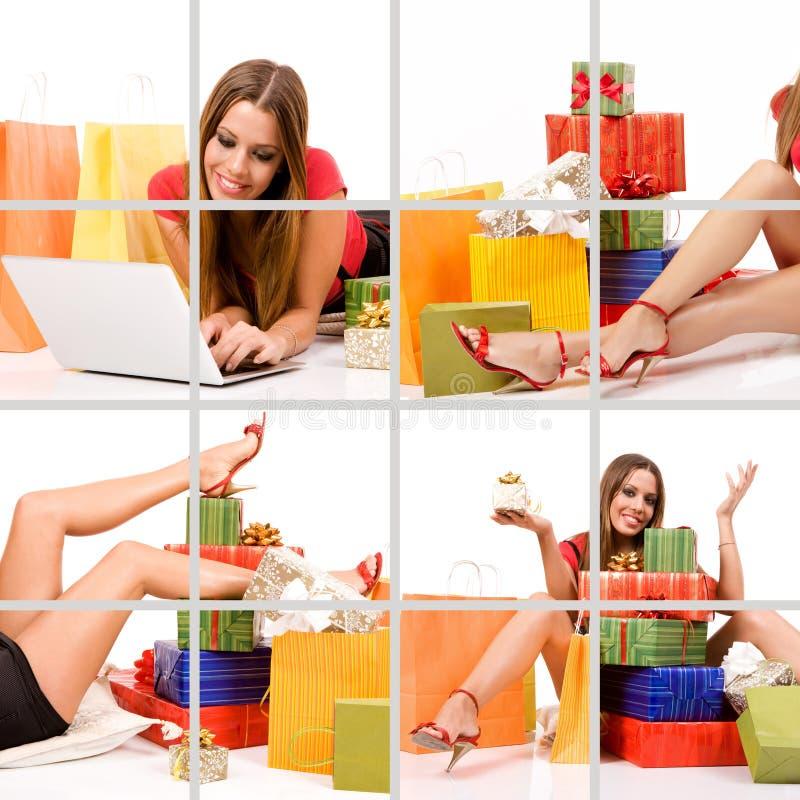 拼贴画购物妇女 免版税库存图片