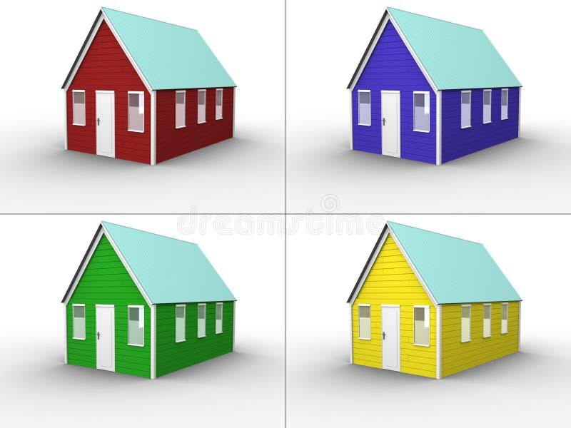 拼贴画颜色房子 皇族释放例证