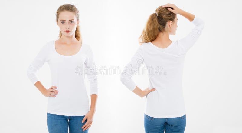 拼贴画,集合前面,后面观点的时髦的T恤杉的年轻白种人女孩妇女在白色背景 嘲笑为设计 模板 免版税库存照片
