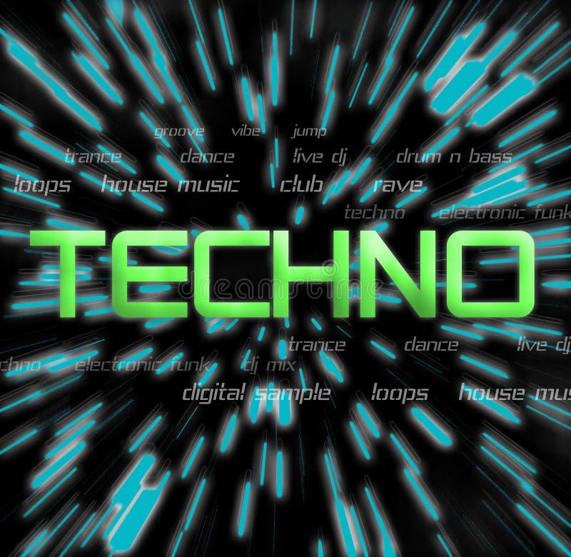 拼贴画techno 向量例证