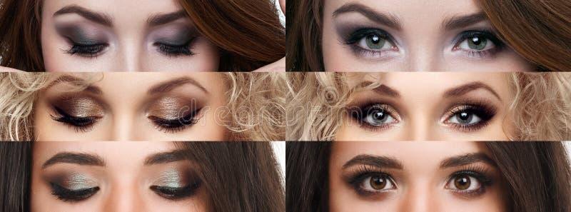 拼贴画关闭了和与另外构成的开放眼睛 明亮的构成,化妆用品,染睫毛油,眼影膏 秀丽和方式 免版税库存图片