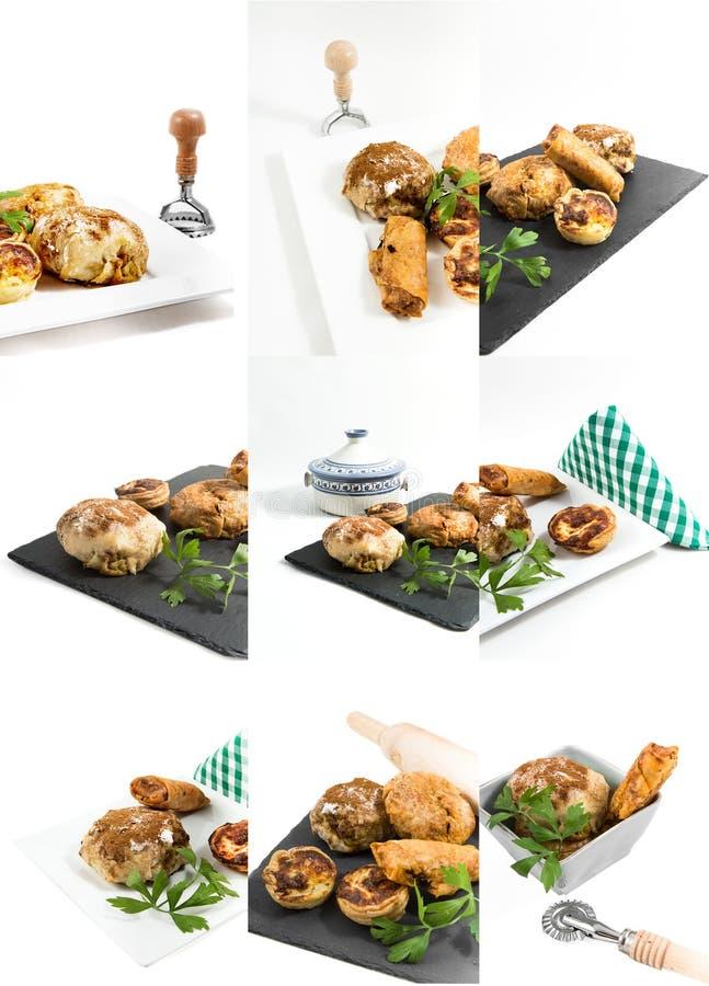 拼贴画在白色backg隔绝的典型的摩洛哥和阿拉伯食物 免版税图库摄影