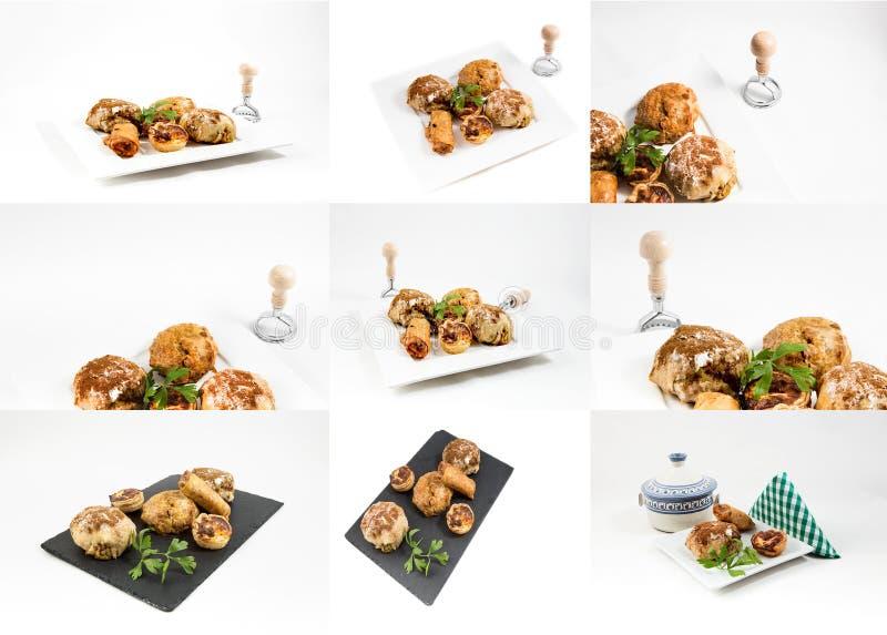 拼贴画在白色backg隔绝的典型的摩洛哥和阿拉伯食物 免版税库存图片