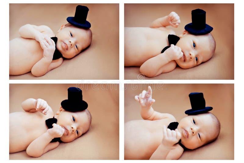 拼贴画新出生的婴孩 免版税库存照片