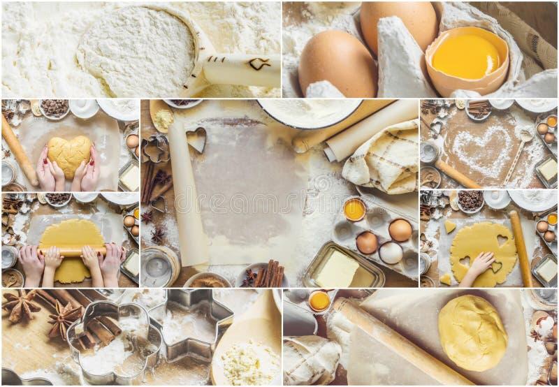 拼贴画酥皮点心,蛋糕,烹调他们自己的手 图库摄影