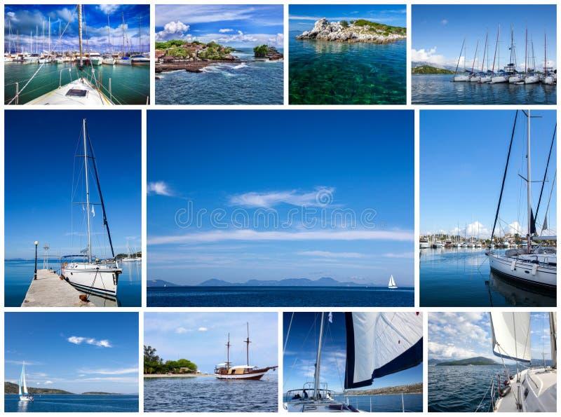 拼贴画题材游艇和旅行 免版税库存图片