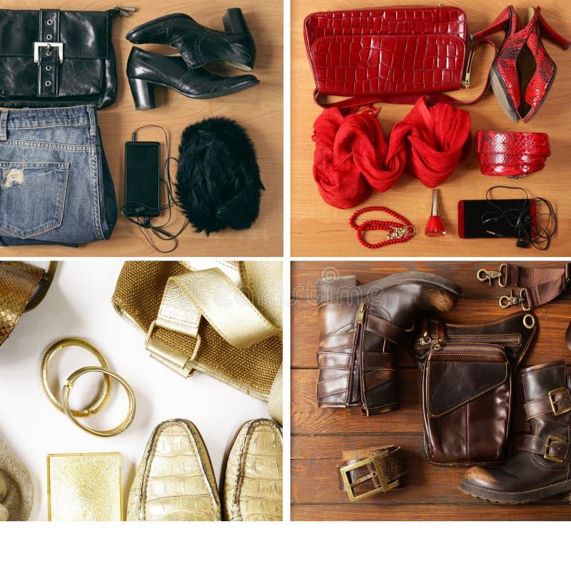 拼贴画,集合偶然时尚集合衣裳-牛仔裤,鞋子 免版税库存照片