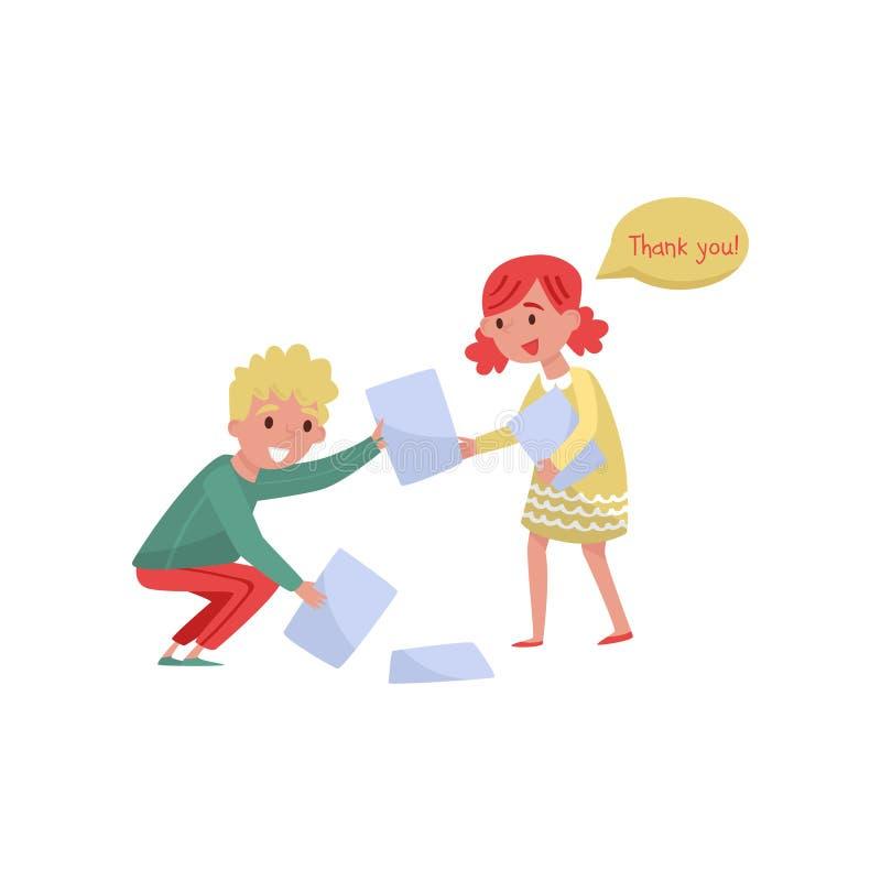 拾起从地板的微笑的男孩帮助的女孩纸 与有礼貌的孩子 平的传染媒介设计 库存例证