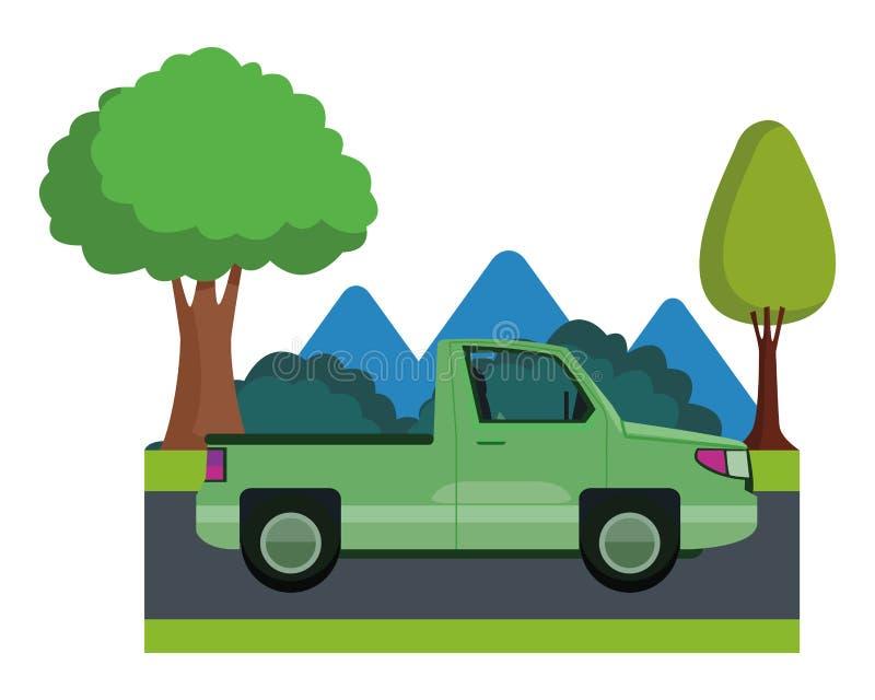 拾起卡车车sideview动画片 向量例证