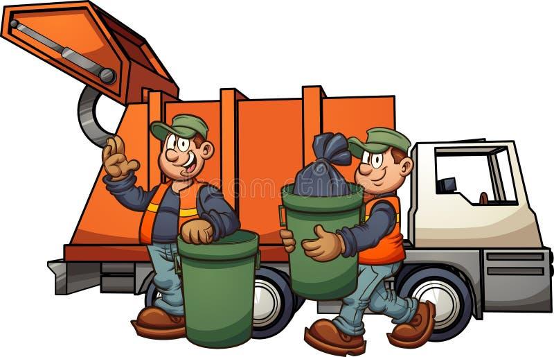 拾起垃圾的倒垃圾工人 库存例证