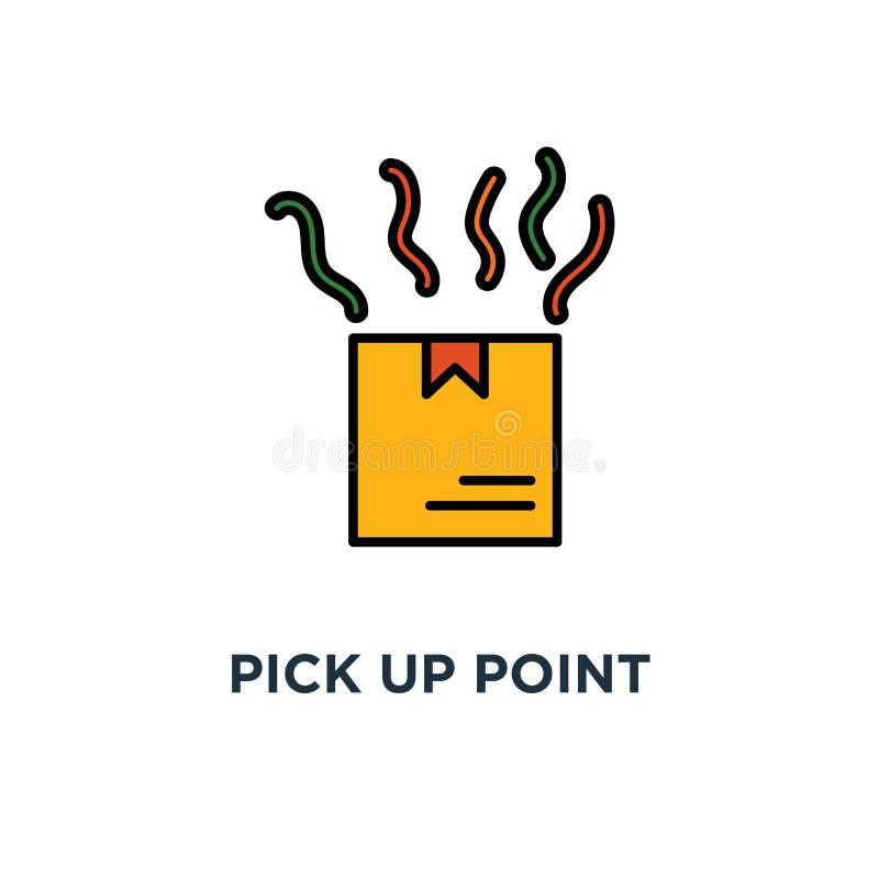 拾起点象 收到订单,举行箱子概念标志设计的手,收集小包,送货服务,运输,包裹 向量例证