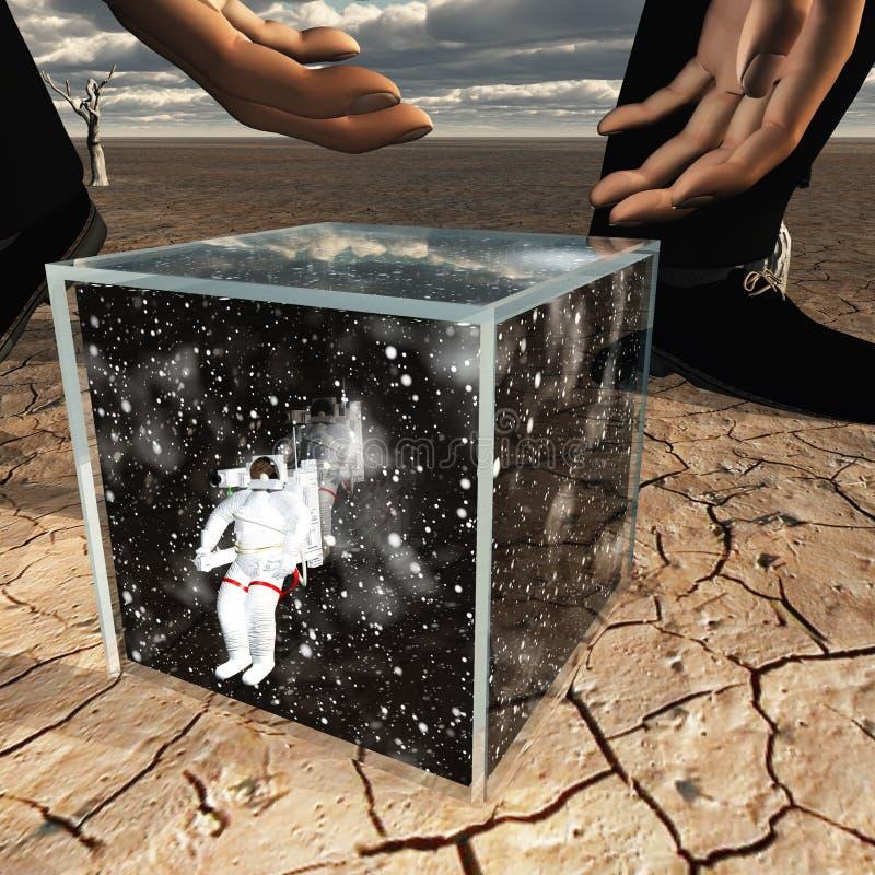 拾起箱子的人包含宇航员 库存例证