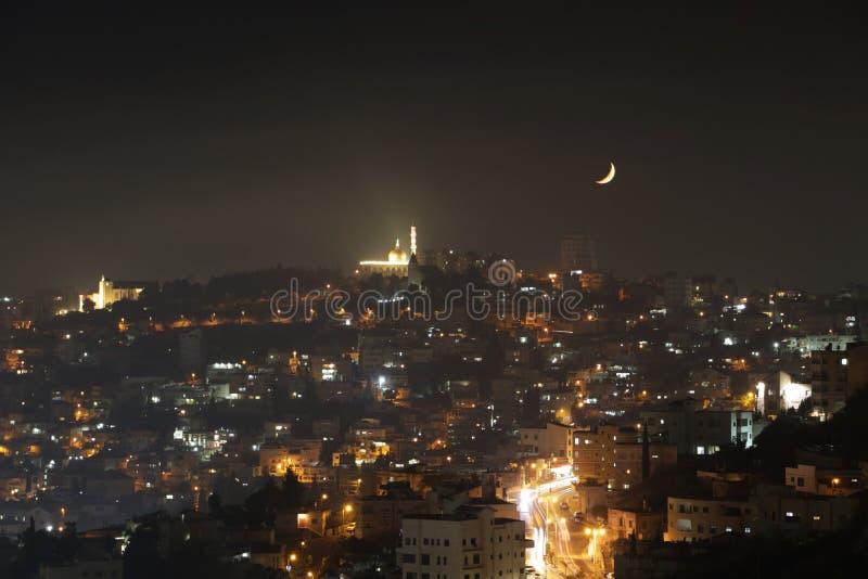 拿撒勒,以色列在晚上 免版税库存照片