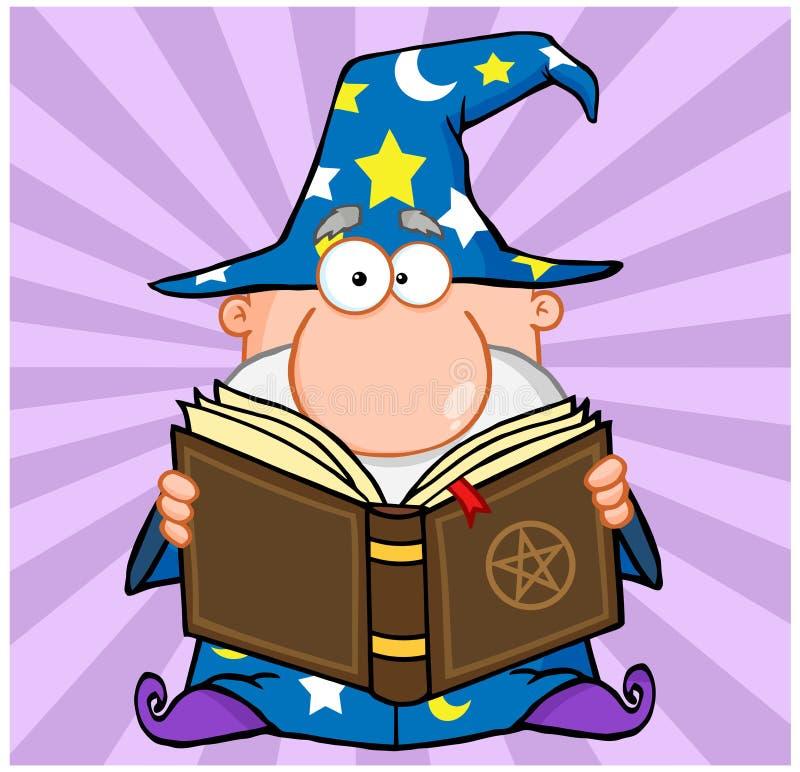 拿着一本不可思议的书的滑稽的巫术师 库存例证
