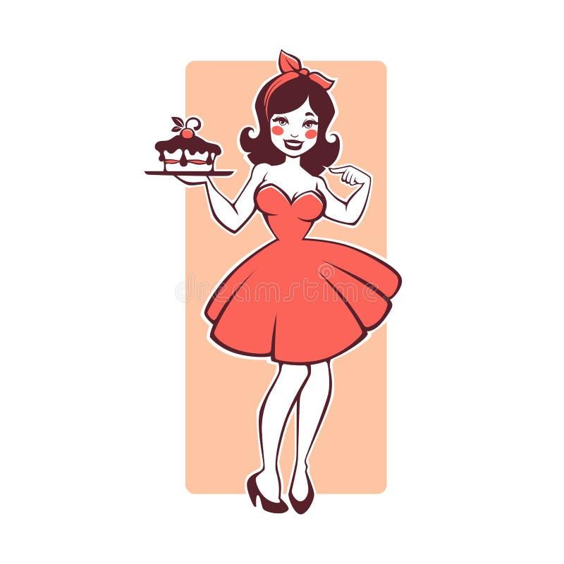 拿着一个可口鲜美蛋糕的秀丽减速火箭的画报动画片女孩 向量例证