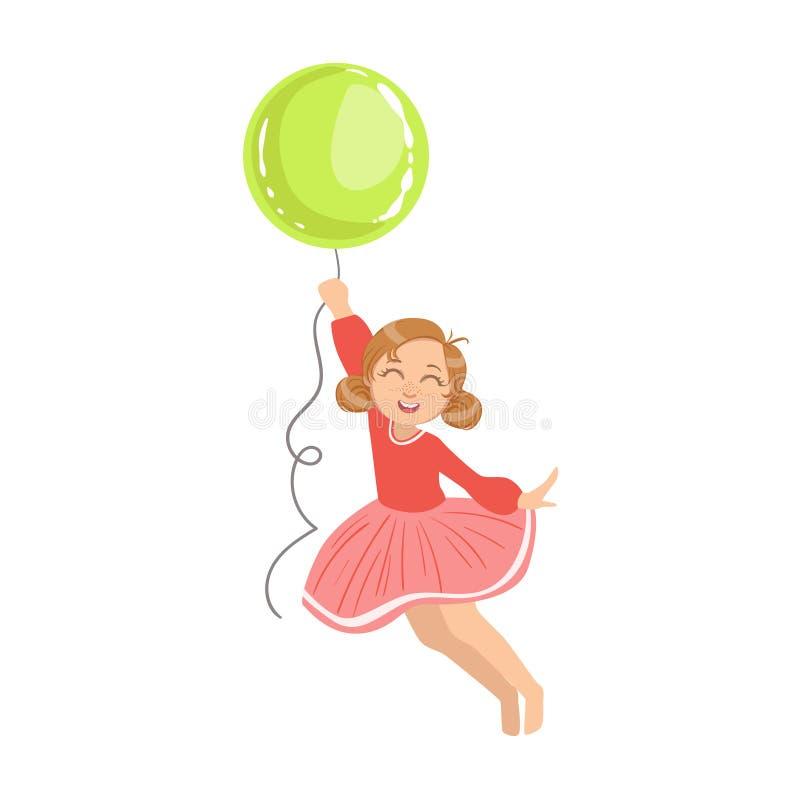 拿着一个大绿色气球的女孩飞行