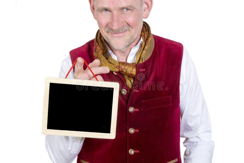 拿着一个小黑板的巴法力亚人画象 免版税库存图片