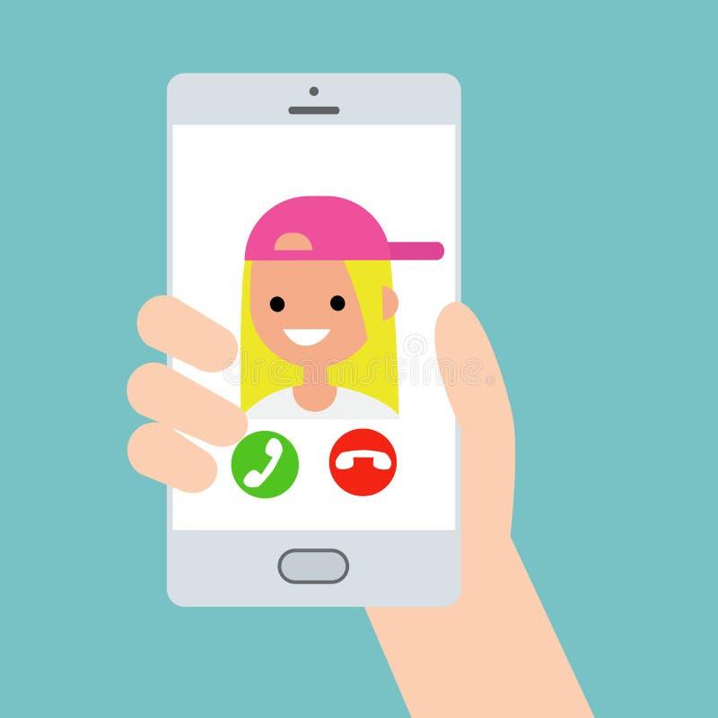 拿着一个巧妙的电话的手 从滑稽的十几岁的女孩的进来电话 库存例证