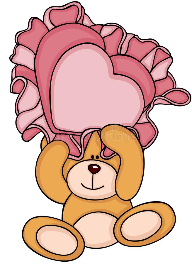 拿着一个心形的枕头的玩具熊 皇族释放例证