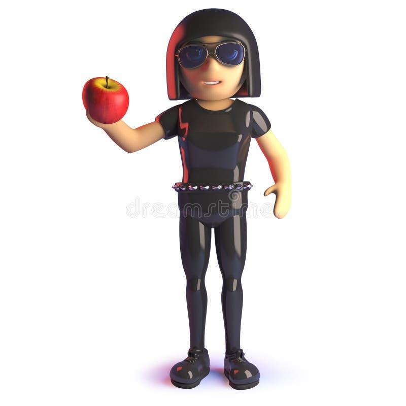 拿着一个有机苹果的乳汁catsuit的动画片3d哥特式女孩 向量例证