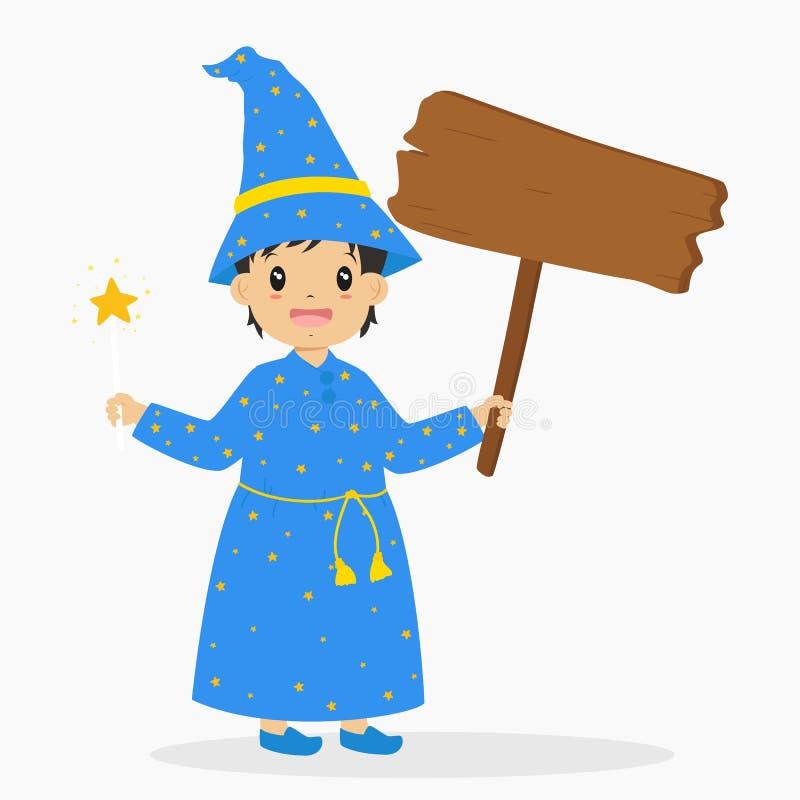 拿着一个木标志和南瓜桶,万圣夜动画片传染媒介的逗人喜爱的巫术师 库存例证